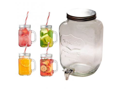 8L Glass Drinks Dispenser with 4 Mason Drinking Jars and Straws