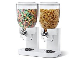 Double Cereal & Dry Food Dispenser (White)