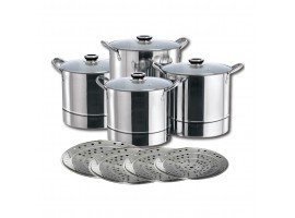 4pcs Induction Stainless Steel Cookware Set With Steamers