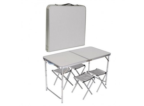Portable 4 Stool And Table Set