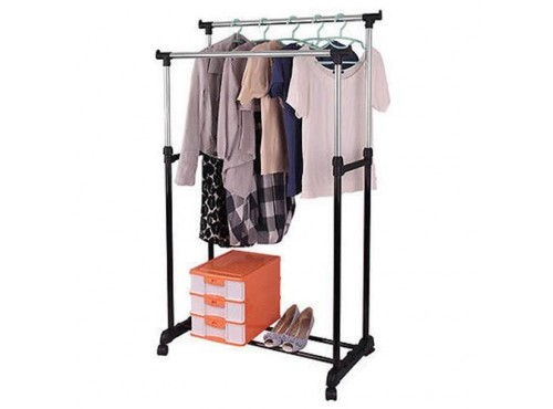 Double Clothes Coat Rail Garment Dress Hanging Display Stand On Wheels