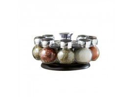 8 Piece Revolving Glass Spice Jar Rack Set