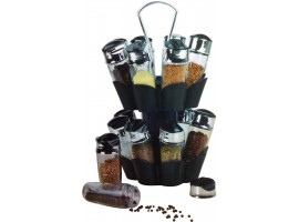 16 Piece Revolving Glass Spice Jar Modern Rack Set