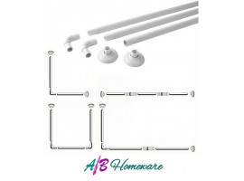 Extendable Shower Curtain Rail - Aluminium L & U Shape 4 Way Shower CurtainPole