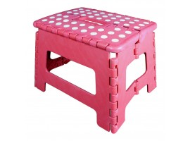 Easy Folding Multi Purpose Sturdy Step Stool For Home Kitchen Garage With Carry Handle (Pink)